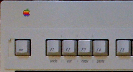 This is a photo by Flickr user penmachine (Derek K. Miller) of an Apple Extended Keyboard II with Apple's overlay, cropped to show the corner of the overlay hanging around the Power key.