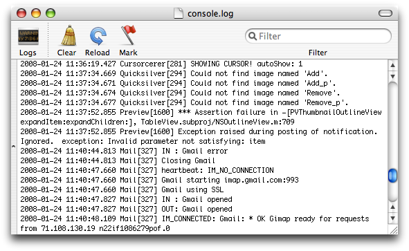 Here's a screenshot of Console in Tiger. There's a source list on the left, and a plain text view on the right.