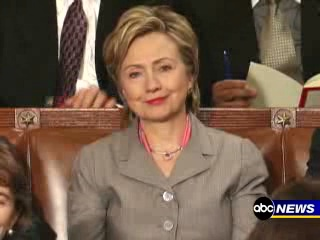 Frame-grab of Hillary Clinton's scowl.
