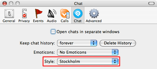 "Screenshot of Skype's Preferences, Chat tab, with the ""Style"" pop-up set to Stockholm."