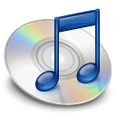 iTunes 2.0's icon: A CD with a blue musical note in front of it.