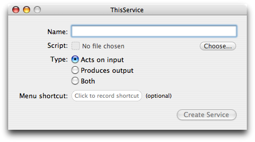ThisService 1.0 main window.