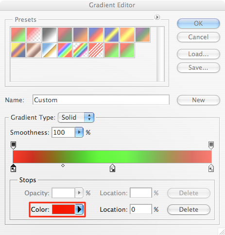 Screenshot of Photoshop's gradient editor. Highlighted is the color pop-up for a key-point in the gradient. The arrow of the pop-up is excessively large.