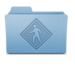 Leopard's new Public Folder icon still has the old crosswalk sign on a folder, but now it's just embossed into the imaginary paper of the folder, rather than superimposed in full color.
