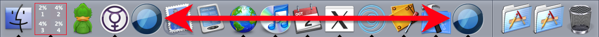 One of them is the application bundle as I see it in the Finder, which is what I added to the Dock myself, and which is no longer running; the other is the application behind the running Sapiens process, which appears in the Dock for only that reason.