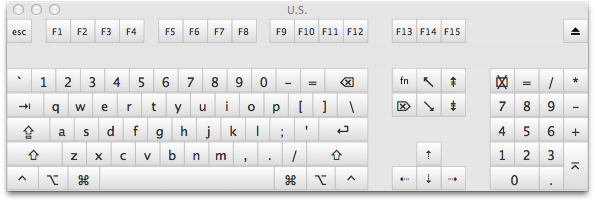 A mockup of my dream keyboard's layout, made by modifying a screenshot of the OS X Keyboard Viewer window.