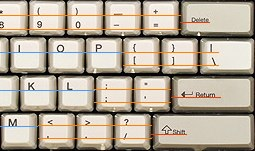Annotated cropped photo of the Unicomp SpaceSaver M's letter board, showing the baselines of white keys (such as letter, punctuation, and number keys) and gray keys (such as delete/backspace, return, and shift).