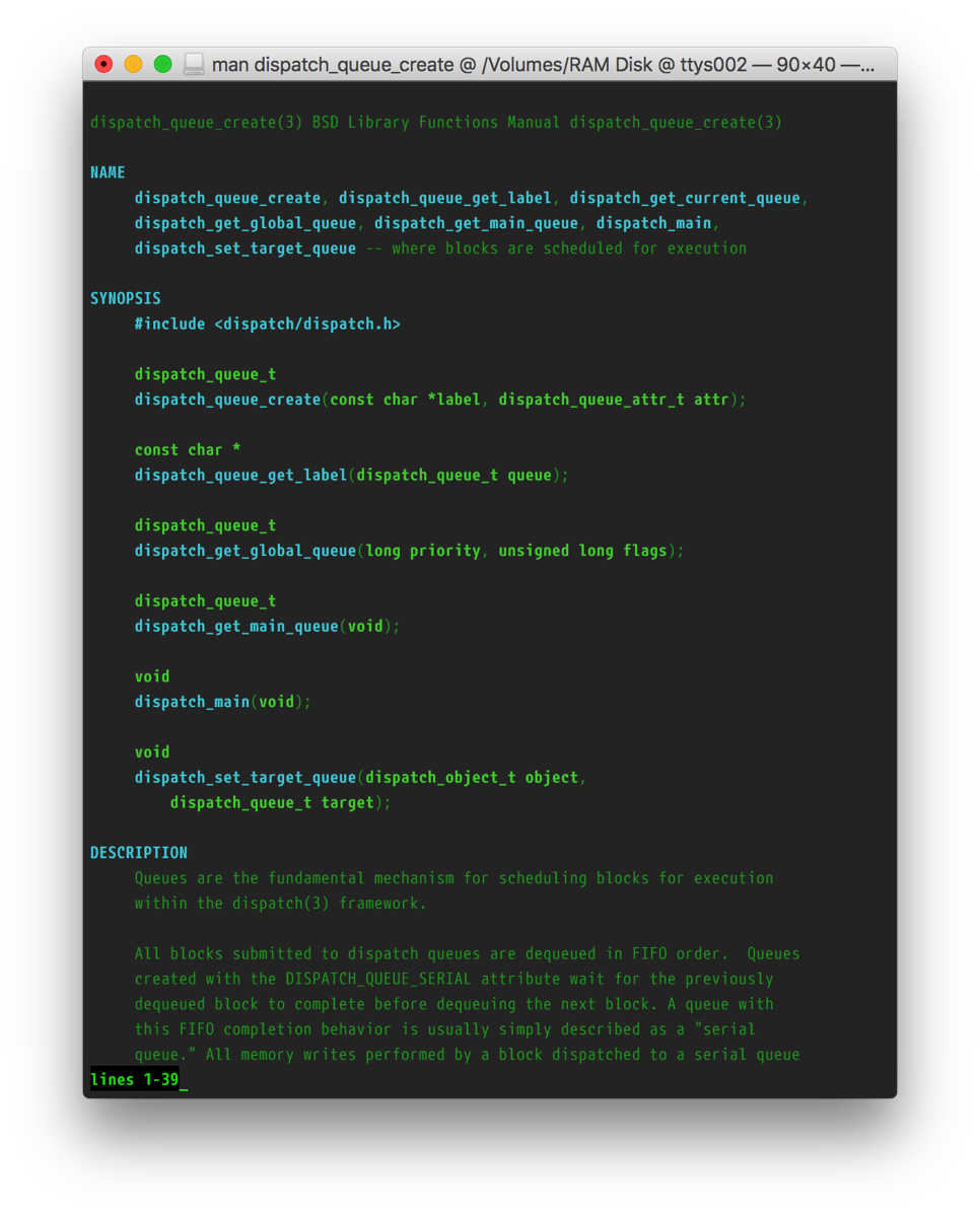 Screenshot of the dispatch_queue_create manpage with the customized style.