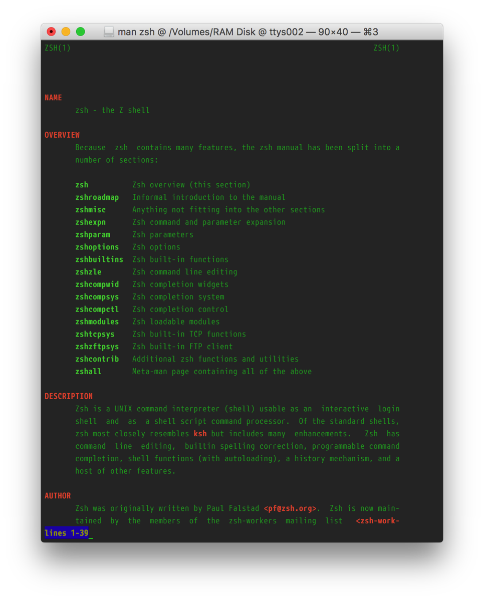 Screenshot of Terminal showing the zsh manpage with the above customizations.