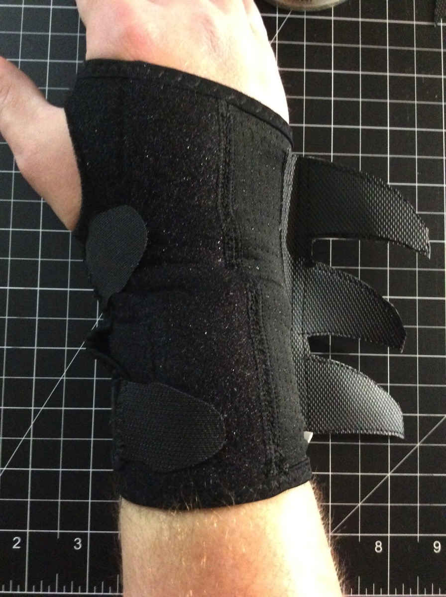Photo of the augmented wrist brace being worn.