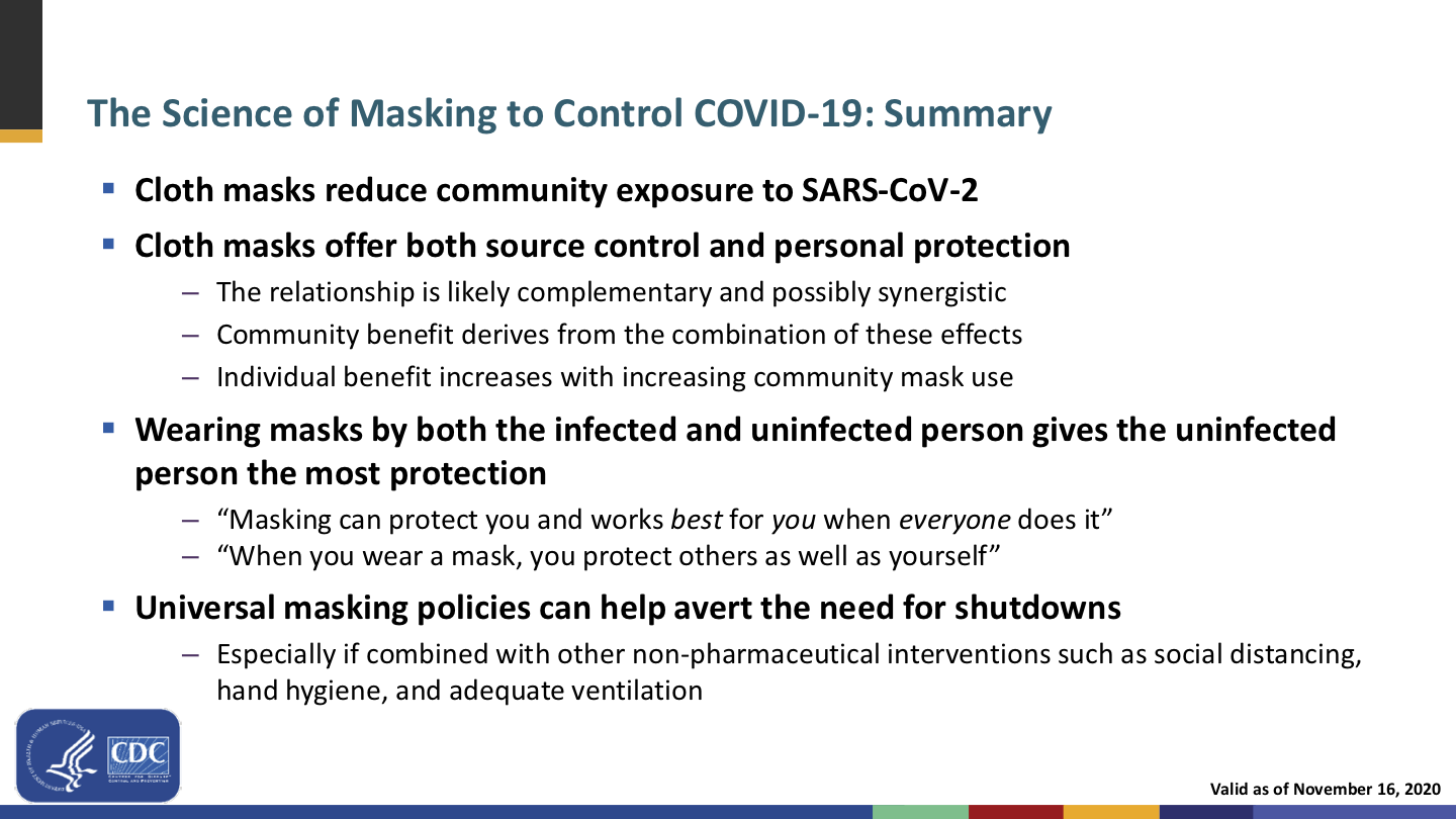 """A presentation slide, with a bullet point and couple and subordinate quotes (of example messaging) that read: """"Wearing masks by both the infected and uninfected person gives the uninfected person the most protection; 'Masking can protect you and works best for you when everyone does it'; 'When you wear a mask, you protect others as well as yourself'"""""""