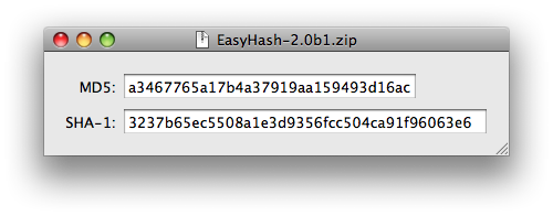 EasyHash: One-step MD5 and SHA-1 hashing